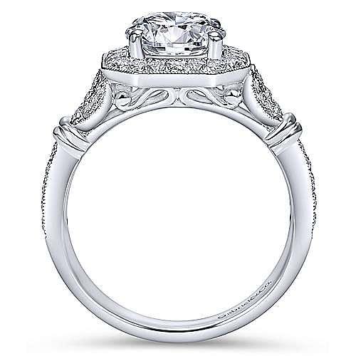 Thompson 14k White Gold Round Halo Engagement Ring angle 2