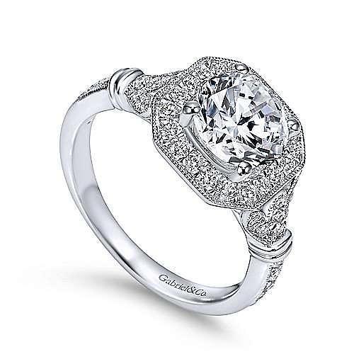 Thompson 14k White Gold Round Halo Engagement Ring angle 3