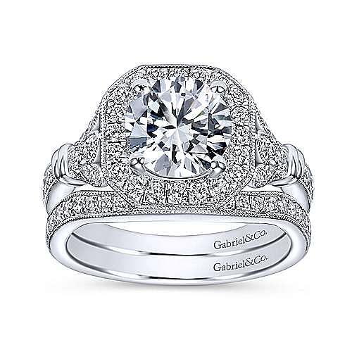 Thompson 14k White Gold Round Halo Engagement Ring angle 4