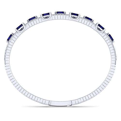 Three Row 14K White Gold Sapphire and Diamond Station Bangle