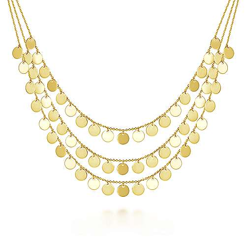 Three Strand 14K Yellow Gold Round Disc Drop Necklace