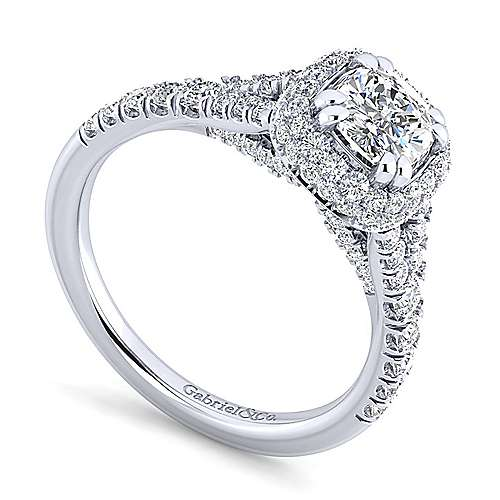 Thyme 14k White Gold Cushion Cut Double Halo Engagement Ring angle 3