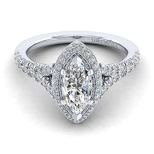 Gabriel - Thyme 14k White Gold Marquise  Double Halo Engagement Ring