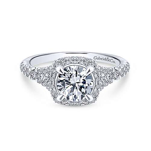 Gabriel - Thyme 18k White Gold Round Double Halo Engagement Ring