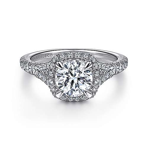 Gabriel - Thyme Platinum Round Double Halo Engagement Ring