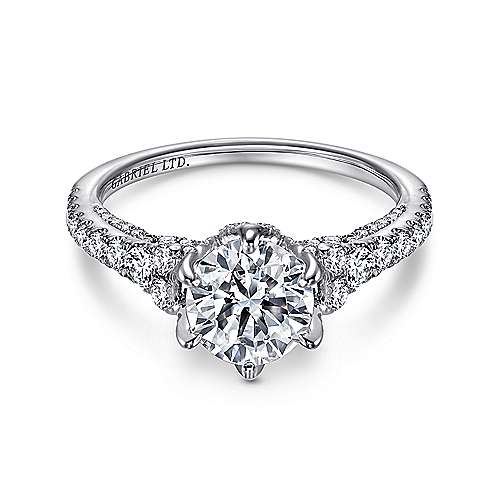 Gabriel - Tia 18k White Gold Round Straight Engagement Ring