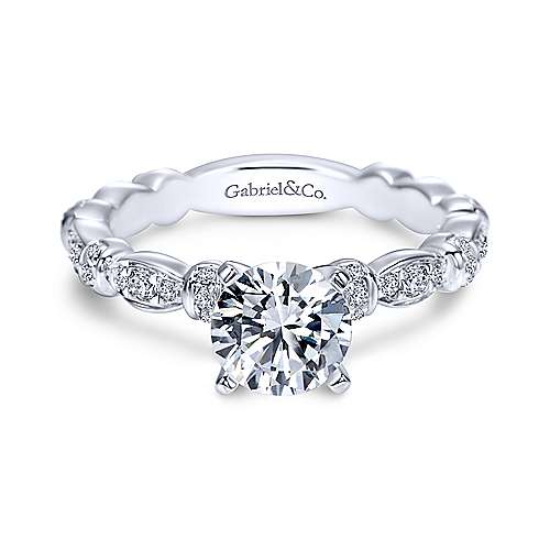 Gabriel - Tiana 14k White Gold Round Straight Engagement Ring