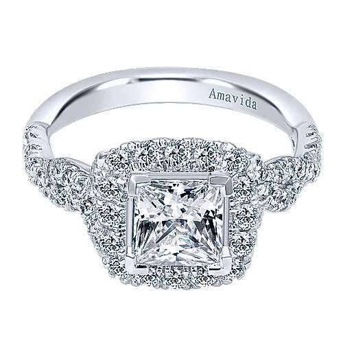 Gabriel - Tiara 18k White Gold Princess Cut Halo Engagement Ring