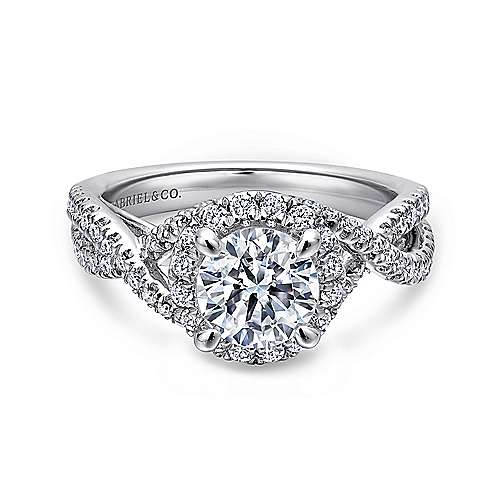 Tiffany 14k White Gold Round Halo Engagement Ring angle 1