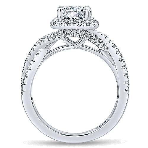 Tiffany 14k White Gold Round Halo Engagement Ring angle 2