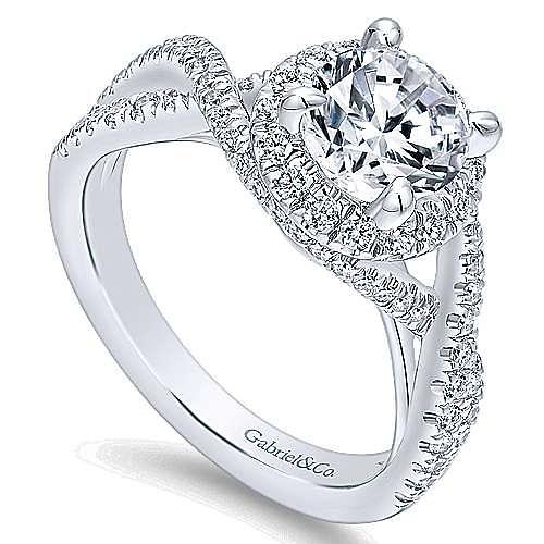 Tiffany 14k White Gold Round Halo Engagement Ring angle 3