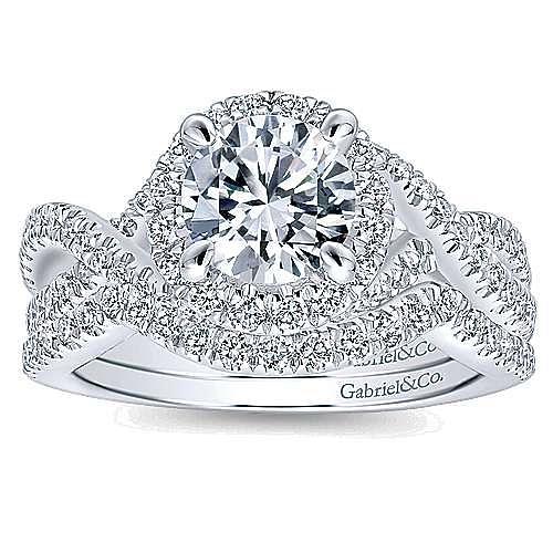 Tiffany 14k White Gold Round Halo Engagement Ring angle 4