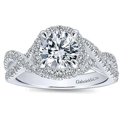 Tiffany 14k White Gold Round Halo Engagement Ring angle 5