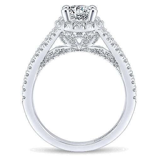 Tiger Lily 14k White Gold Oval Halo Engagement Ring angle 2