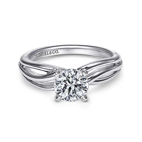 Tillie 14k White Gold Round Straight Engagement Ring angle 1