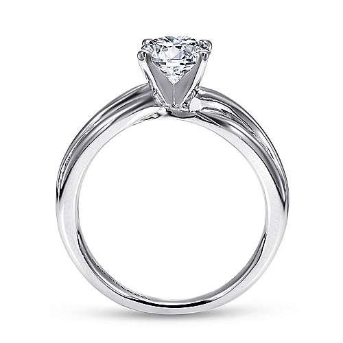 Tillie 14k White Gold Round Straight Engagement Ring angle 2