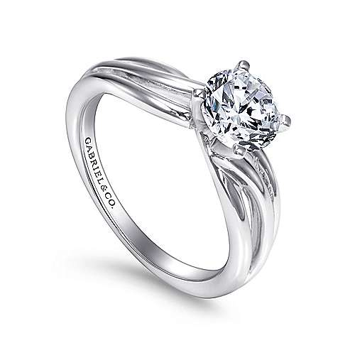Tillie 14k White Gold Round Straight Engagement Ring angle 3