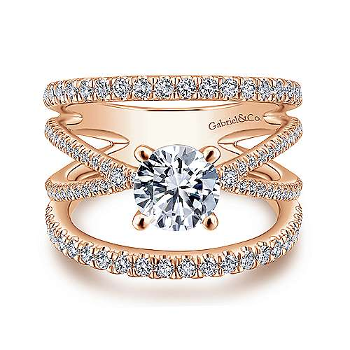 Gabriel - Titania 14k Rose Gold Round Split Shank Engagement Ring