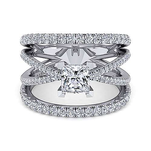 Gabriel - Titania 14k White Gold Princess Cut Split Shank Engagement Ring