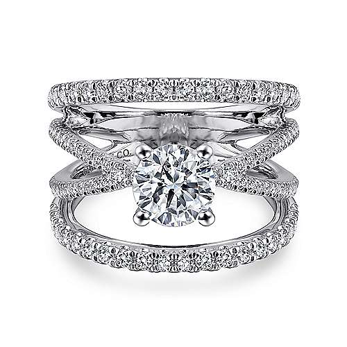 Gabriel - Titania 14k White Gold Round Split Shank Engagement Ring