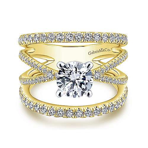 Gabriel - Titania 14k Yellow And White Gold Round Split Shank Engagement Ring