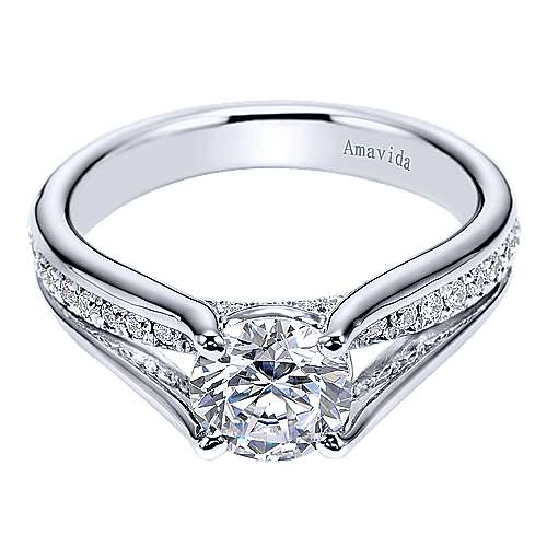 Trey 18k White Gold Round Split Shank Engagement Ring angle 1