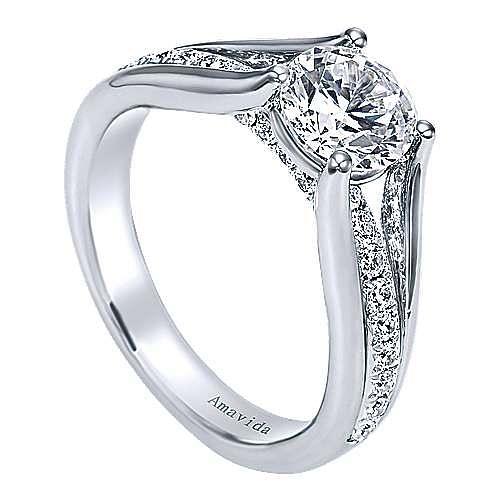 Trey 18k White Gold Round Split Shank Engagement Ring angle 3