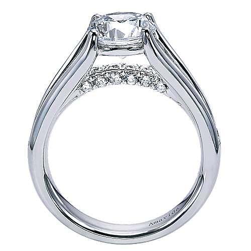 Trey 18k White Gold Round Split Shank Engagement Ring angle 2
