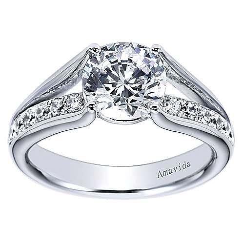 Trey 18k White Gold Round Split Shank Engagement Ring angle 5