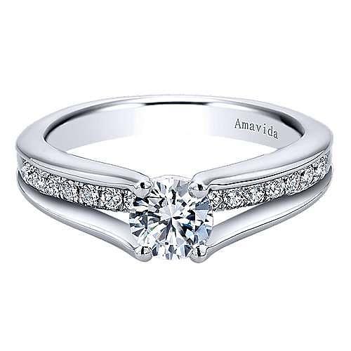 Gabriel - Trey 18k White Gold Round Split Shank Engagement Ring