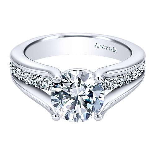 Gabriel - Trey 18k White Gold Round Split Shank Engagement Ring