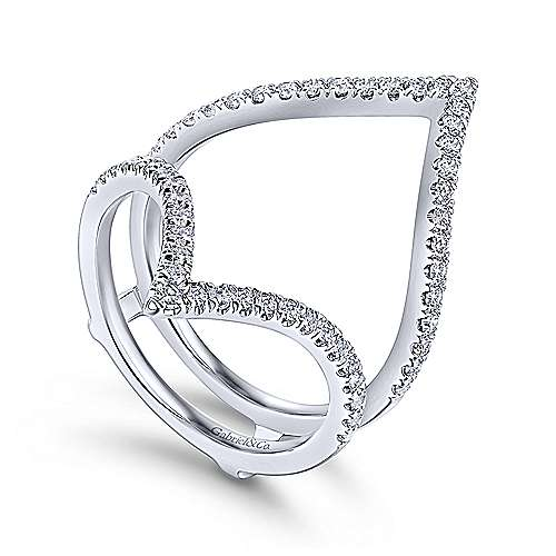 Triangular 14K White Gold French Pavé Set Diamond Ring Enhancer