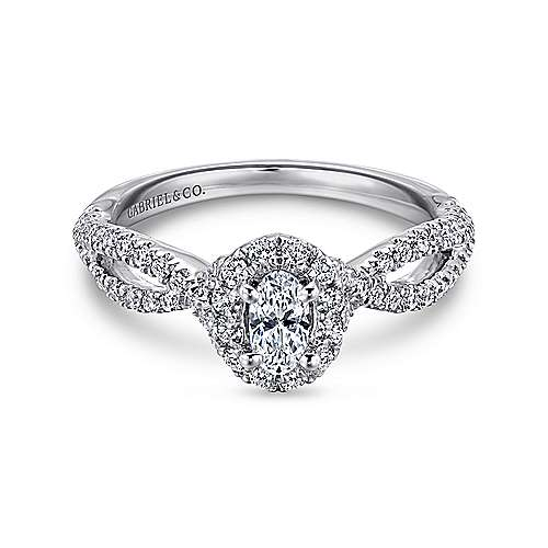 Trimble 14k White Gold Oval Halo Engagement Ring angle 1