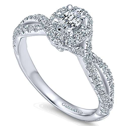 Trimble 14k White Gold Oval Halo Engagement Ring angle 3