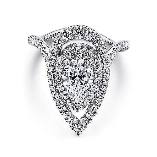 Gabriel - Trinitaria 18k White Gold Pear Shape Double Halo Engagement Ring