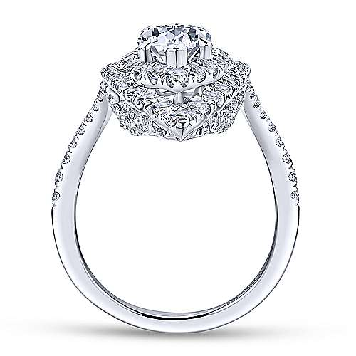 Trinitaria 18k White Gold Pear Shape Double Halo Engagement Ring