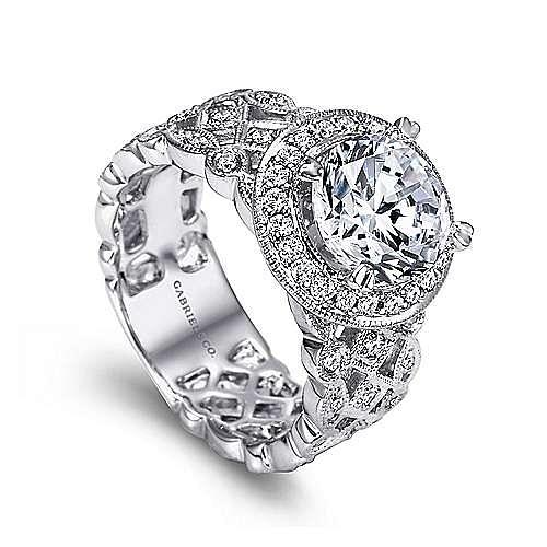 Trinity 14k White Gold Round Halo Engagement Ring angle 3