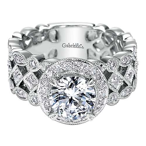 Gabriel - Trinity 14k White Gold Round Halo Engagement Ring