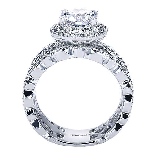 Trinity 14k White Gold Round Halo Engagement Ring angle 2