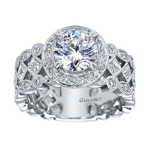 Trinity 14k White Gold Round Halo Engagement Ring angle 5