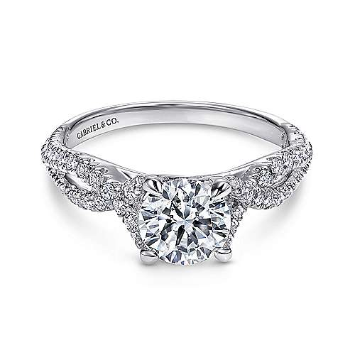 Gabriel - Tristan 14k White Gold Round Twisted Engagement Ring