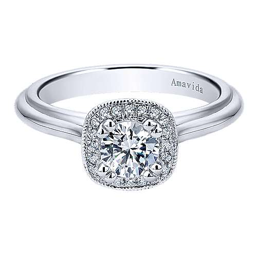 Gabriel - Tropez 18k White Gold Round Halo Engagement Ring