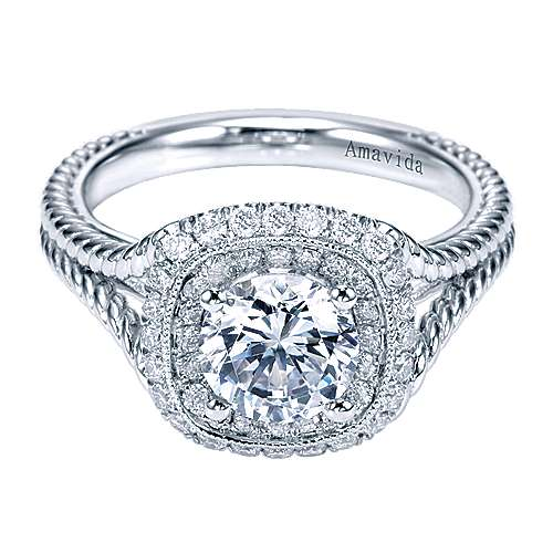 Gabriel - Twain 18k White Gold Round Double Halo Engagement Ring