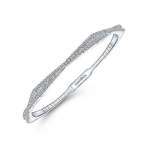 Twisted 14K White Gold Pave Diamond Bangle