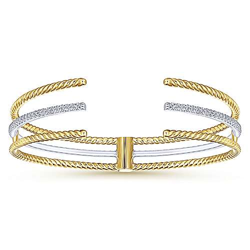 Twisted 14K White and Yellow Gold Bangle with Diamonds