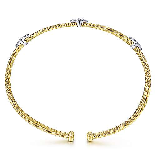 Twisted 14K Yellow Gold Bangle with White Gold and Three Diamonds