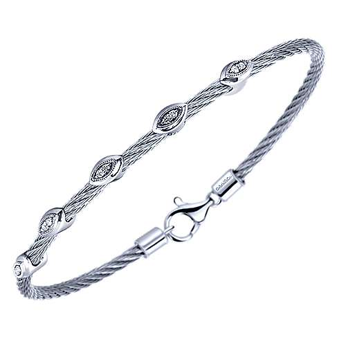 Twisted Cable Stainless Steel Bangle with Marquise Shape Sterling Silver and Diamond Stations