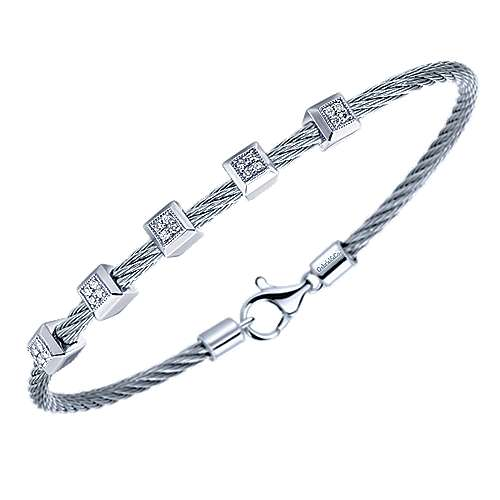 Twisted Cable Stainless Steel Bangle with Square Shape Sterling Silver and Diamond Stations