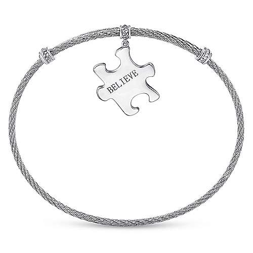 Twisted Cable Stainless Steel Bangle with Sterling Silver Believe Puzzle Piece Charm