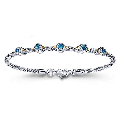 Twisted Cable Stainless Steel Bangle with Sterling Silver Blue Topaz Stations